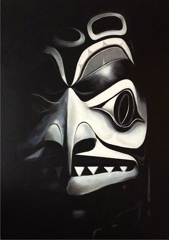 Panting of native mask in the dark by Paul Ygartua