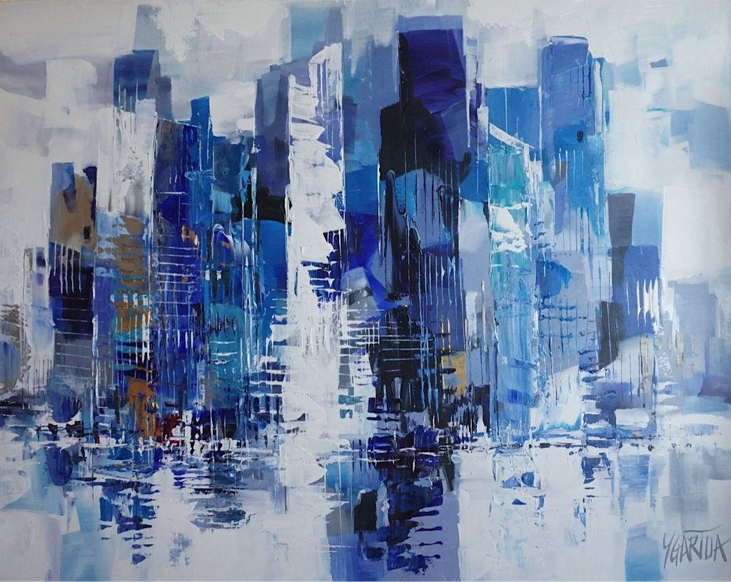 City of New York painting of Manhattan with blue, bronze and white.