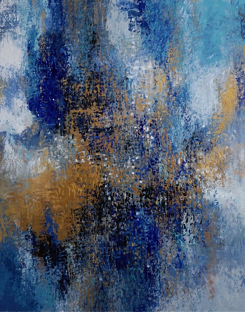 Gold, blue, aqua colours in original abstract art.