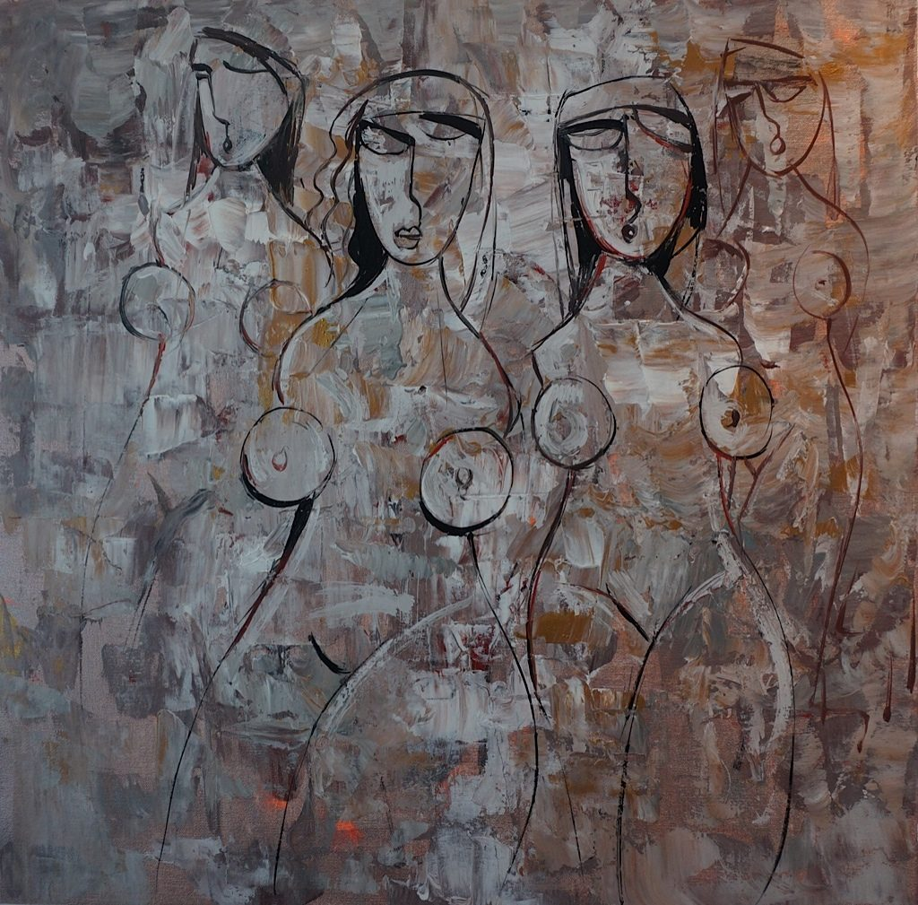 Contemporary art with women figures. Bronze and grey colours.
