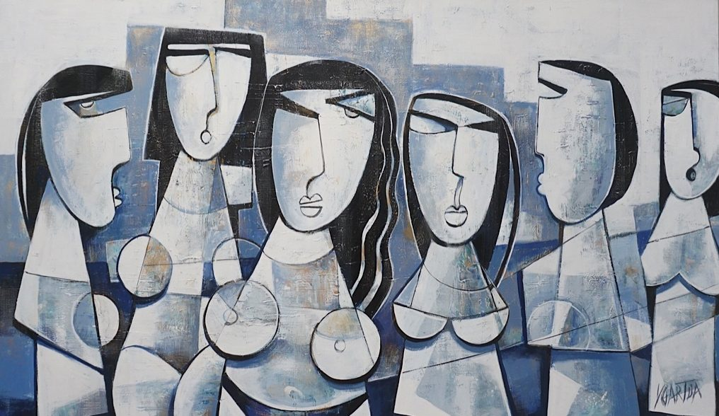 Cubism art of Political strong women waiting for polls on canvas. Acrylic paint Blue, Purples and Whites with Textture.