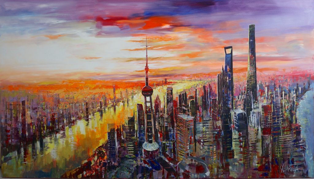 City of Shanghai skyline with river view and sunset.