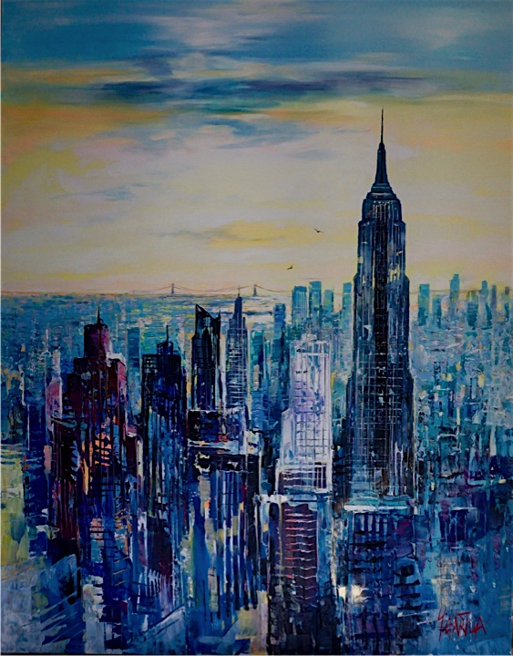 City skyline of New York, Empire State building acrylic on canvas