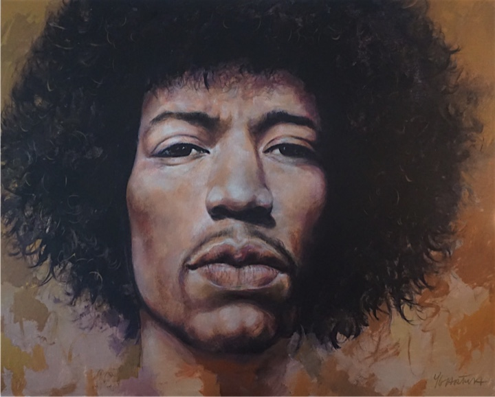 Musician Jimi Hendrix portrait with golds on canvas.