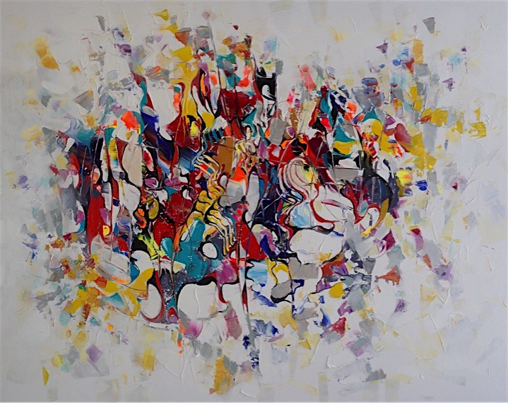 Abstract painting with curves, sways and texture in yellow, red colours