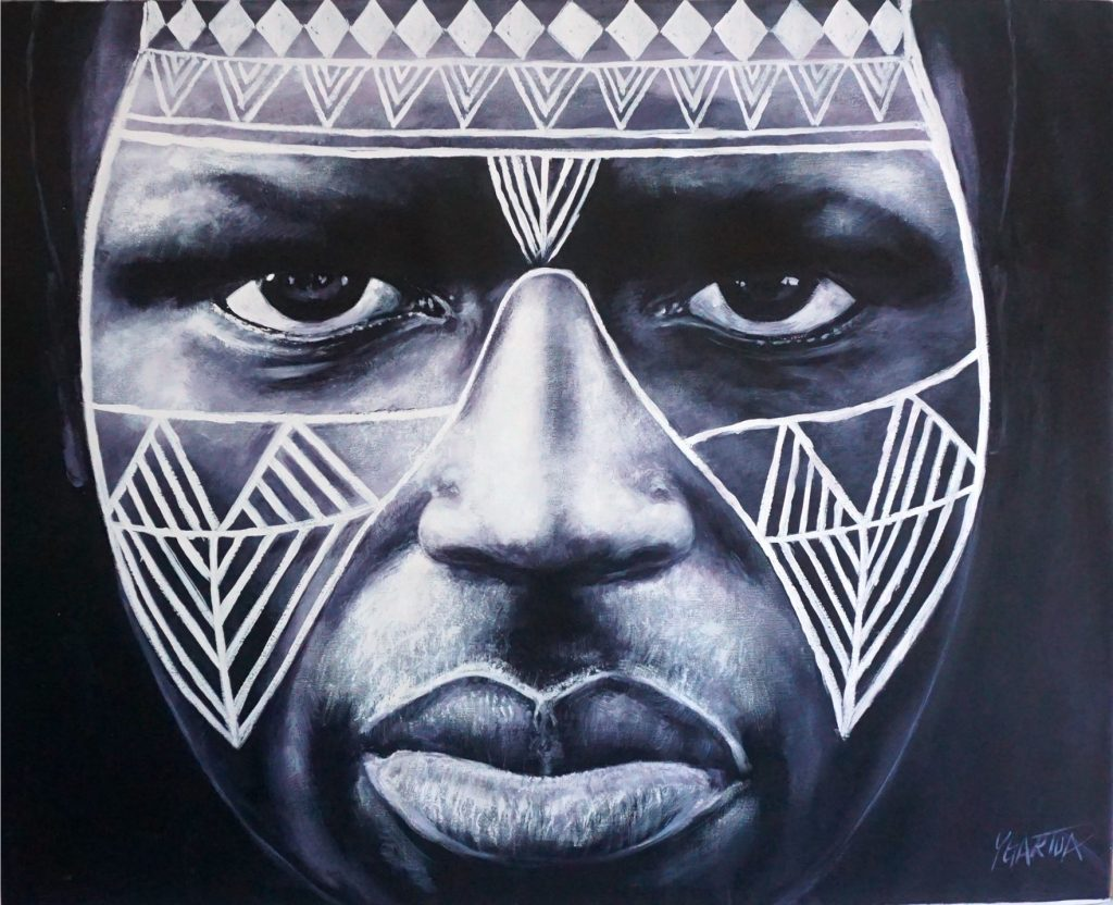 Painting of Native African Tribal painted face with dark shadows by Paul Ygartua
