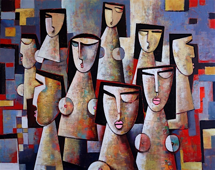 Acrylic painting on canvas, with figures of women in cubism style.