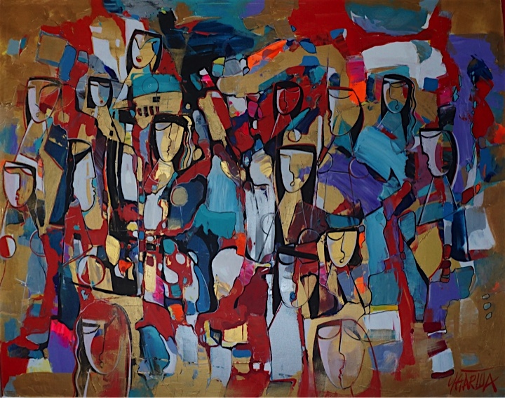 Acrylic painting on canvas, figures in red and golds.